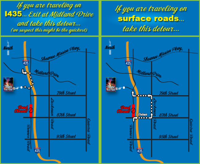 Renner road was closed south of the Shawnee Mission Park entrance to 87th street for the duration of our 2014 season. To give patrons options for getting to TTIP, we posted this map on our website for easy reference.